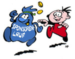 Kindgerechte Illustration für einen Sponsorenlauf für einen guten Zweck.